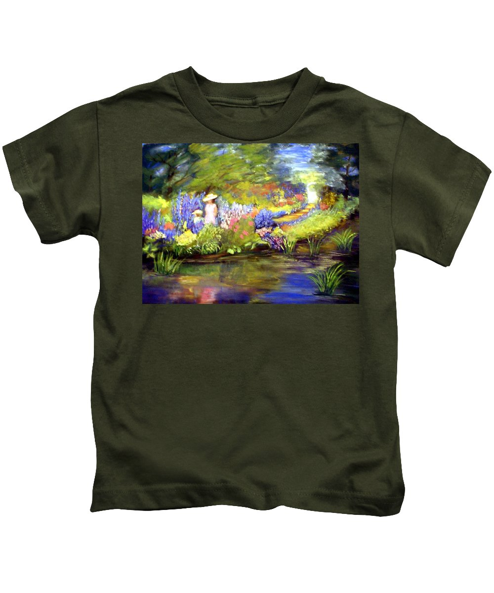 Flower Garden Kids T-Shirt featuring the painting Mother And Daughter by Gail Kirtz