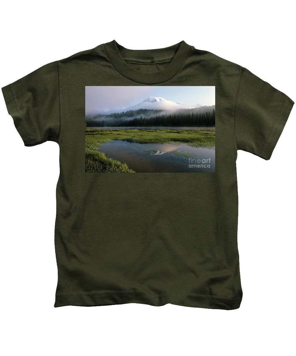 Beauty Kids T-Shirt featuring the photograph Mount Rainier Shrouded In Fog by Jim Corwin