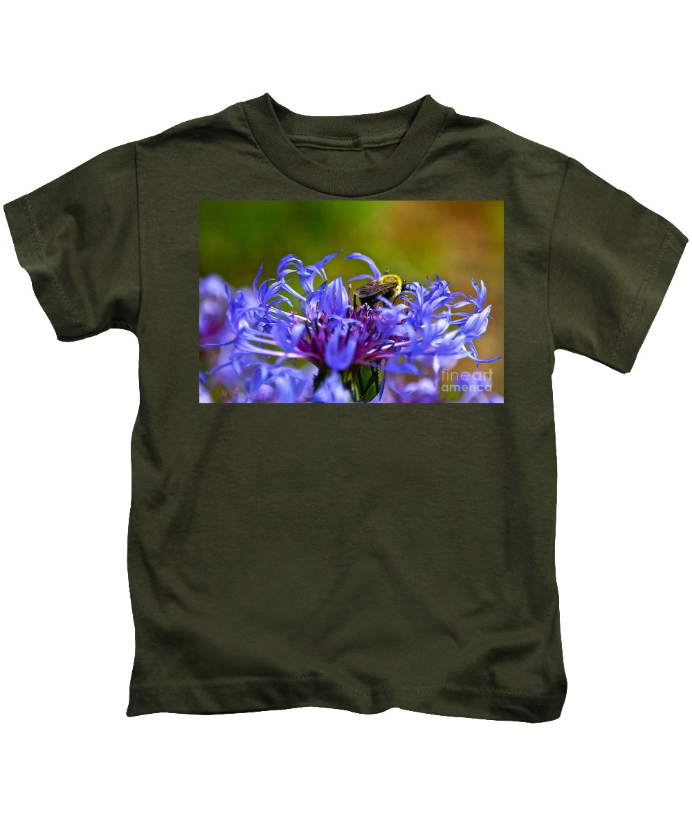 Mountain Cornflower Kids T-Shirt featuring the photograph Mountain Cornflower And Bumble Bee by Byron Varvarigos