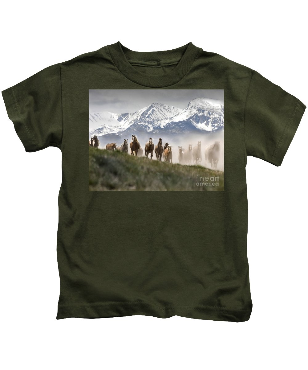 Horses Kids T-Shirt featuring the photograph Mountain Dust Storm by Wildlife Fine Art