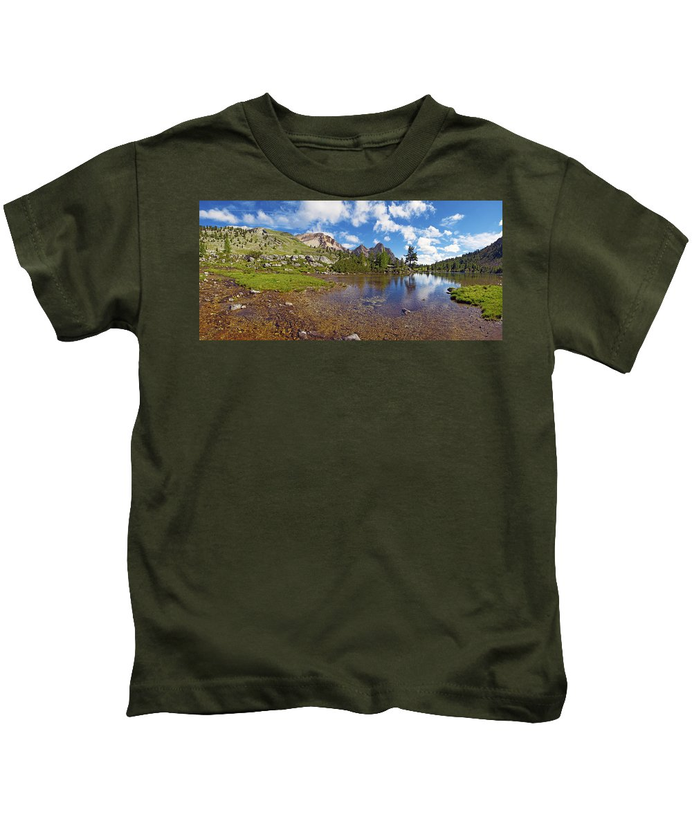 Mountain Lake Kids T-Shirt featuring the photograph Mountain Lake In The Dolomites by Chevy Fleet