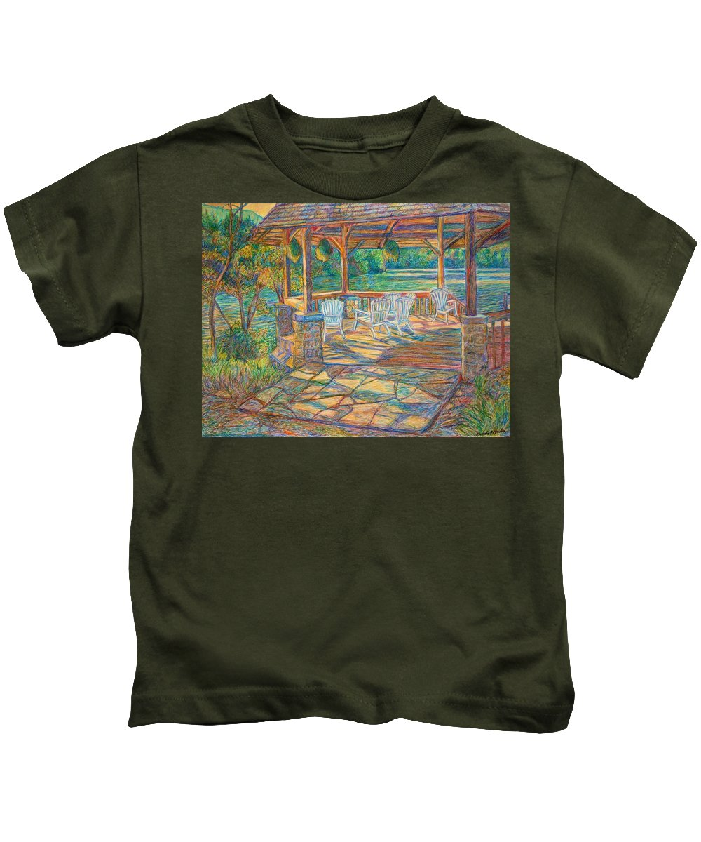 Lake Kids T-Shirt featuring the painting Mountain Lake Shadows by Kendall Kessler