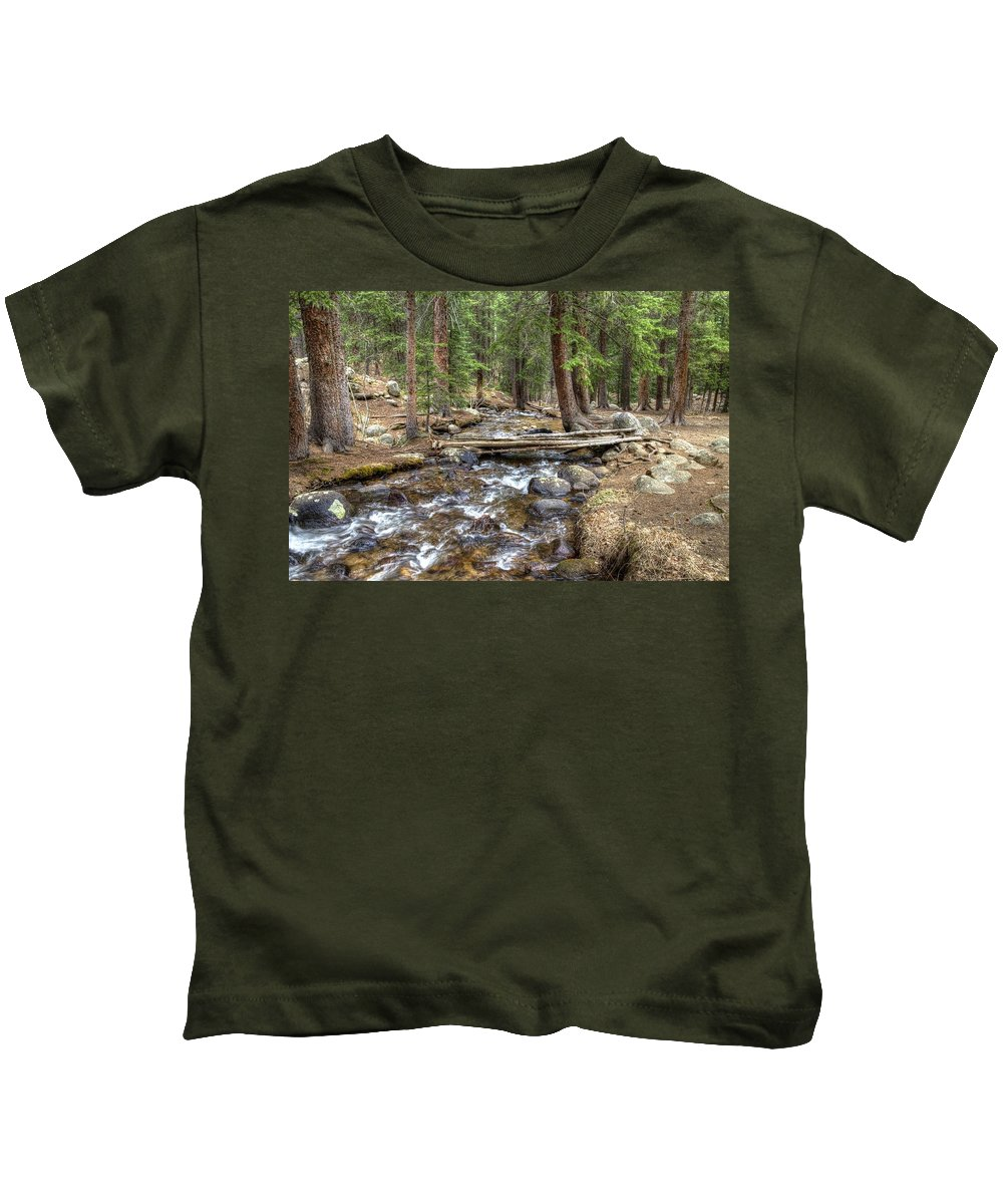 Arapaho National Forest Kids T-Shirt featuring the photograph Colorado Mountain Stream 2 by William Morgan