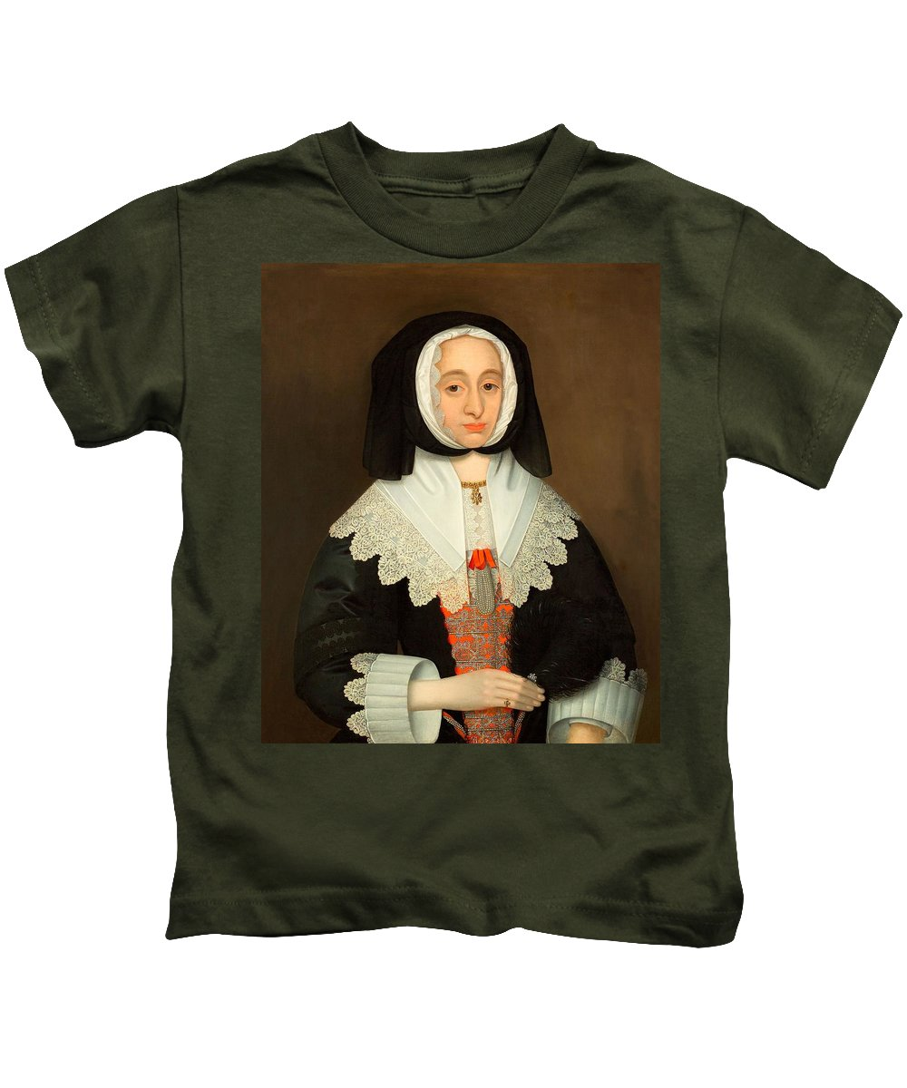 Female Kids T-Shirt featuring the painting Mrs Lucy Hutchinson, C.1643 by John Souch