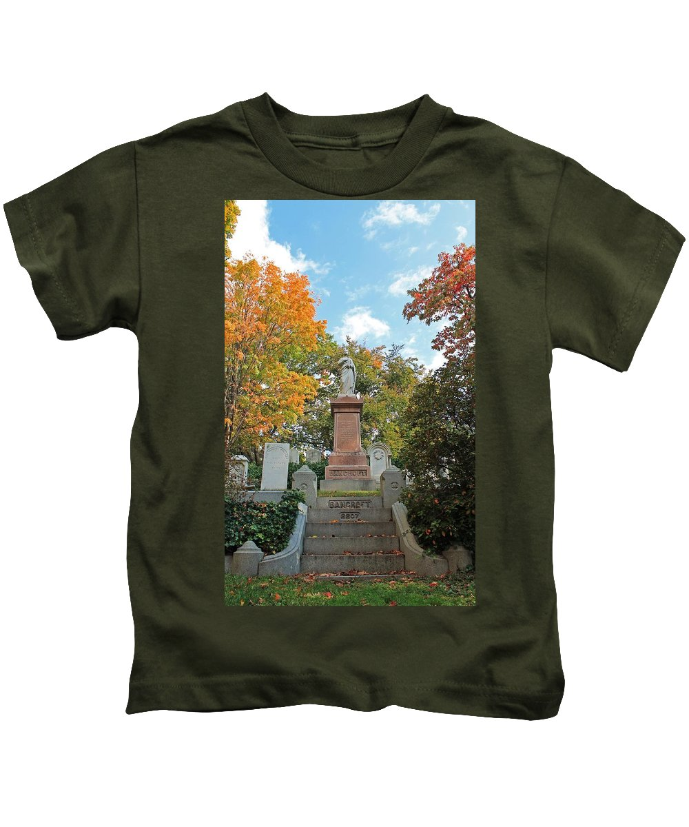 Mt Auburn Cemetery Kids T-Shirt featuring the photograph Mt Auburn Cemetery 1 by Michael Saunders