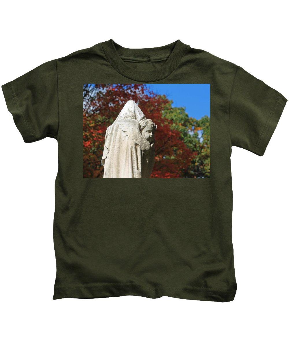 Mt Auburn Cemetery Kids T-Shirt featuring the photograph Mt Auburn Cemetery 8 by Michael Saunders