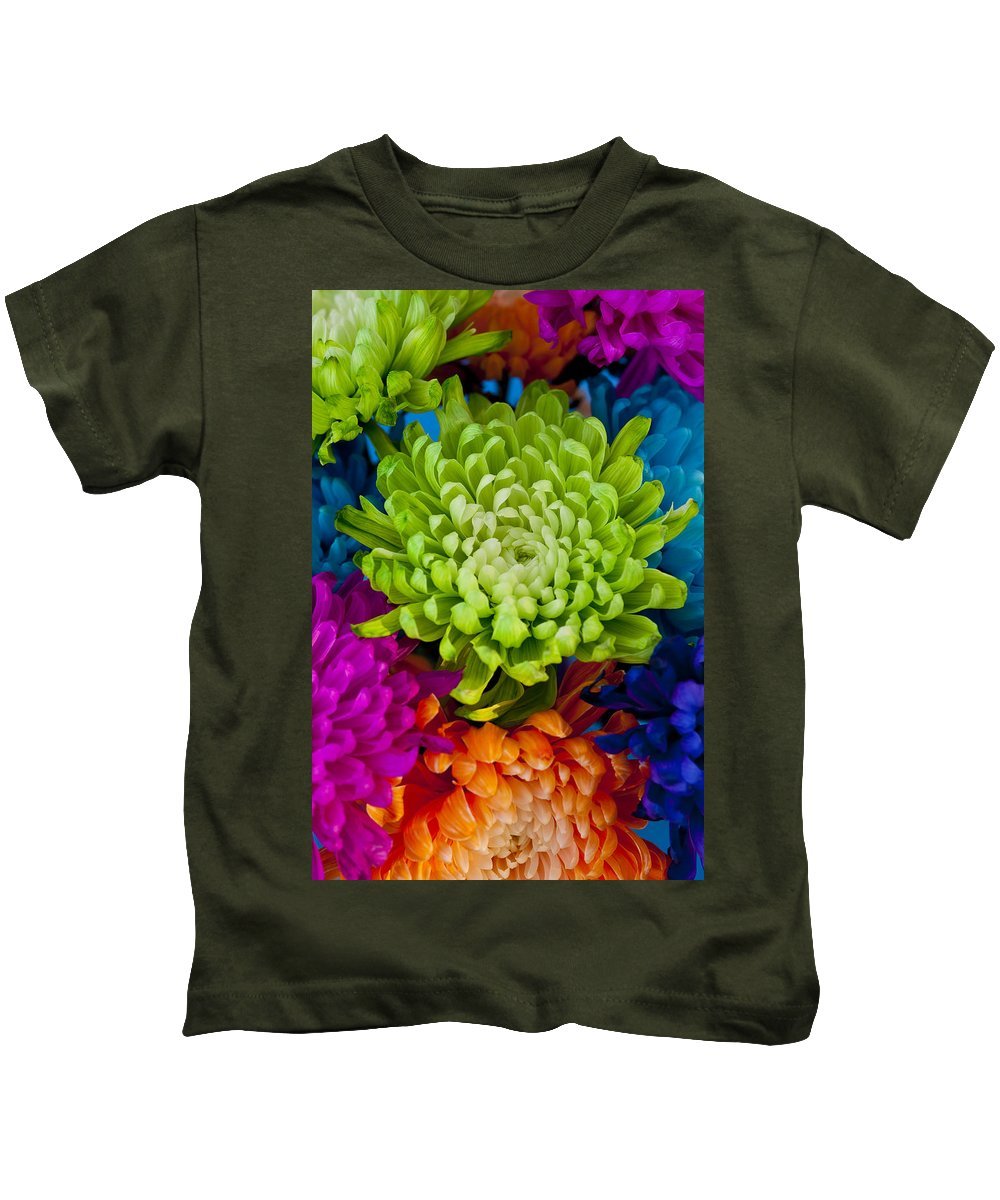 Blossom Kids T-Shirt featuring the photograph Multicolored Chrysanthemums by Jim Corwin