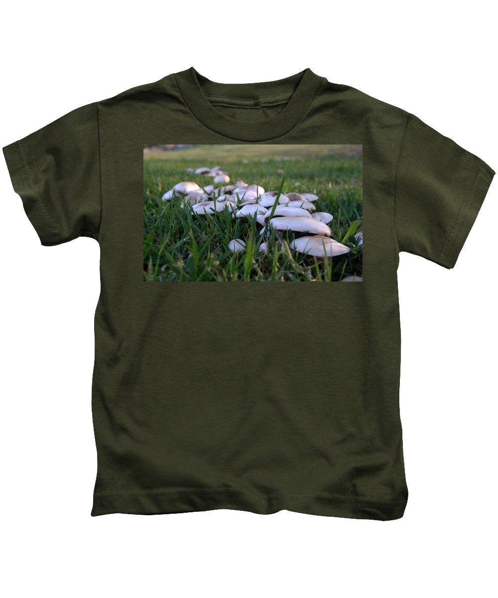 Grass Kids T-Shirt featuring the photograph Mushrooms by Bradley Bennett