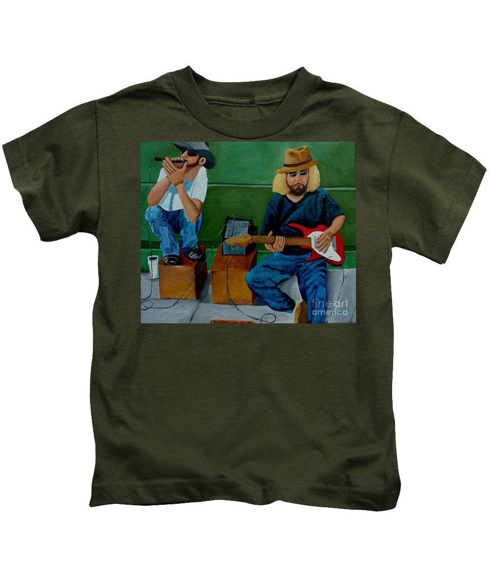 Street Kids T-Shirt featuring the painting Music Of The Street by Anthony Dunphy