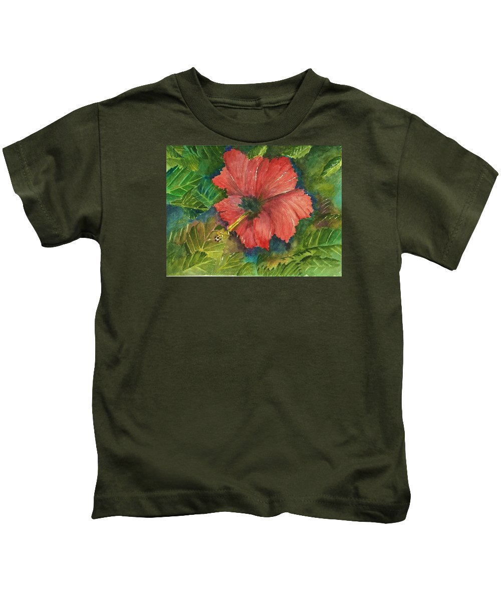 This Is A Original Watercolor Painting On Arches.this Is A Picture Of A Showy Hibiscus Flower In Bloom. The Flower Is Surrounded By Lush Leaves From The Plant. I Find This Painting To Be A Place Of Quiet. A Place To Sit In Peace And Relaxation. No Noise Or Uproar. The Hibiscus Is A Beautiful Garden Flower And It Loves Being In The Sun. Kids T-Shirt featuring the painting My Quiet Place-hibuscus Flower by David Patrick