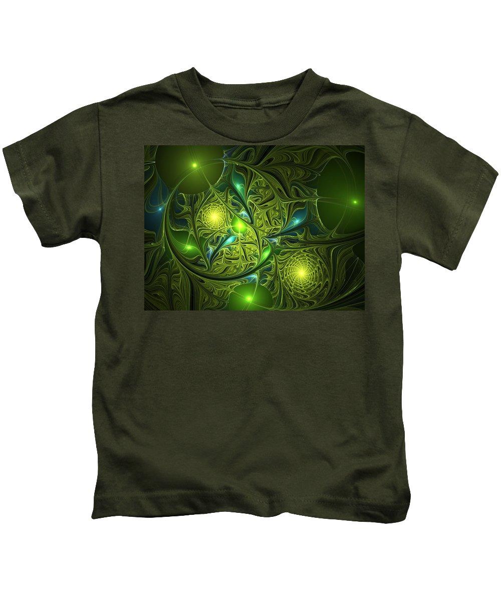 Abstract Kids T-Shirt featuring the digital art Mysterious Lights by Gabiw Art