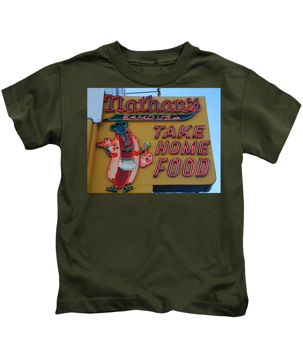 Brooklyn Kids T-Shirt featuring the photograph Nathan's Famous by Rob Hans