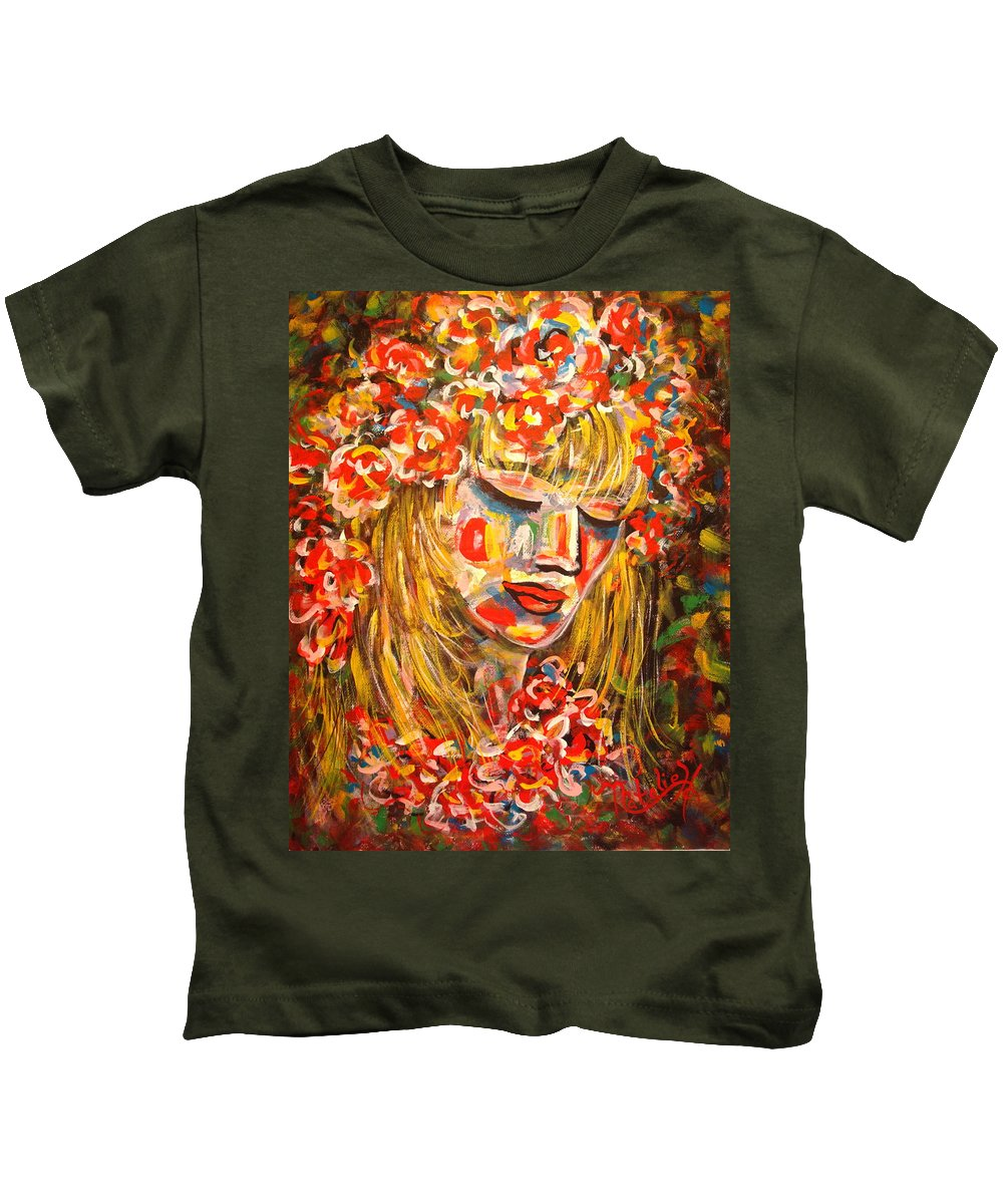 Girl Kids T-Shirt featuring the painting Nature Girl by Natalie Holland
