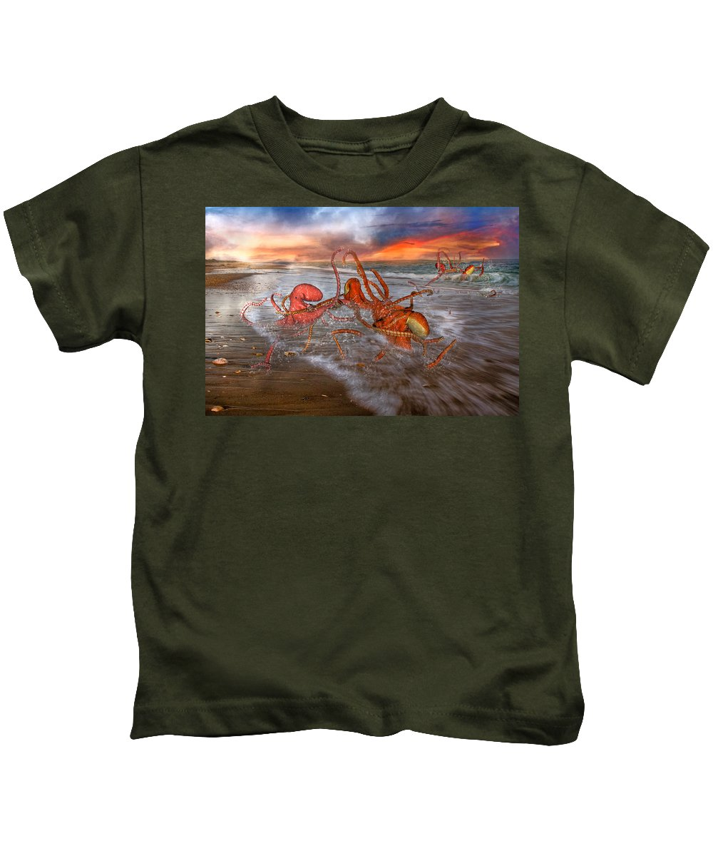 Octopus Kids T-Shirt featuring the digital art Nature Of The Game by Betsy Knapp