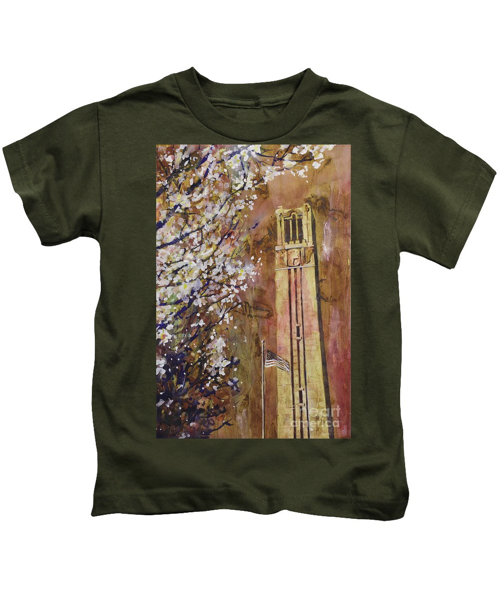 Art Prints Kids T-Shirt featuring the painting Ncsu Bell Tower by Ryan Fox