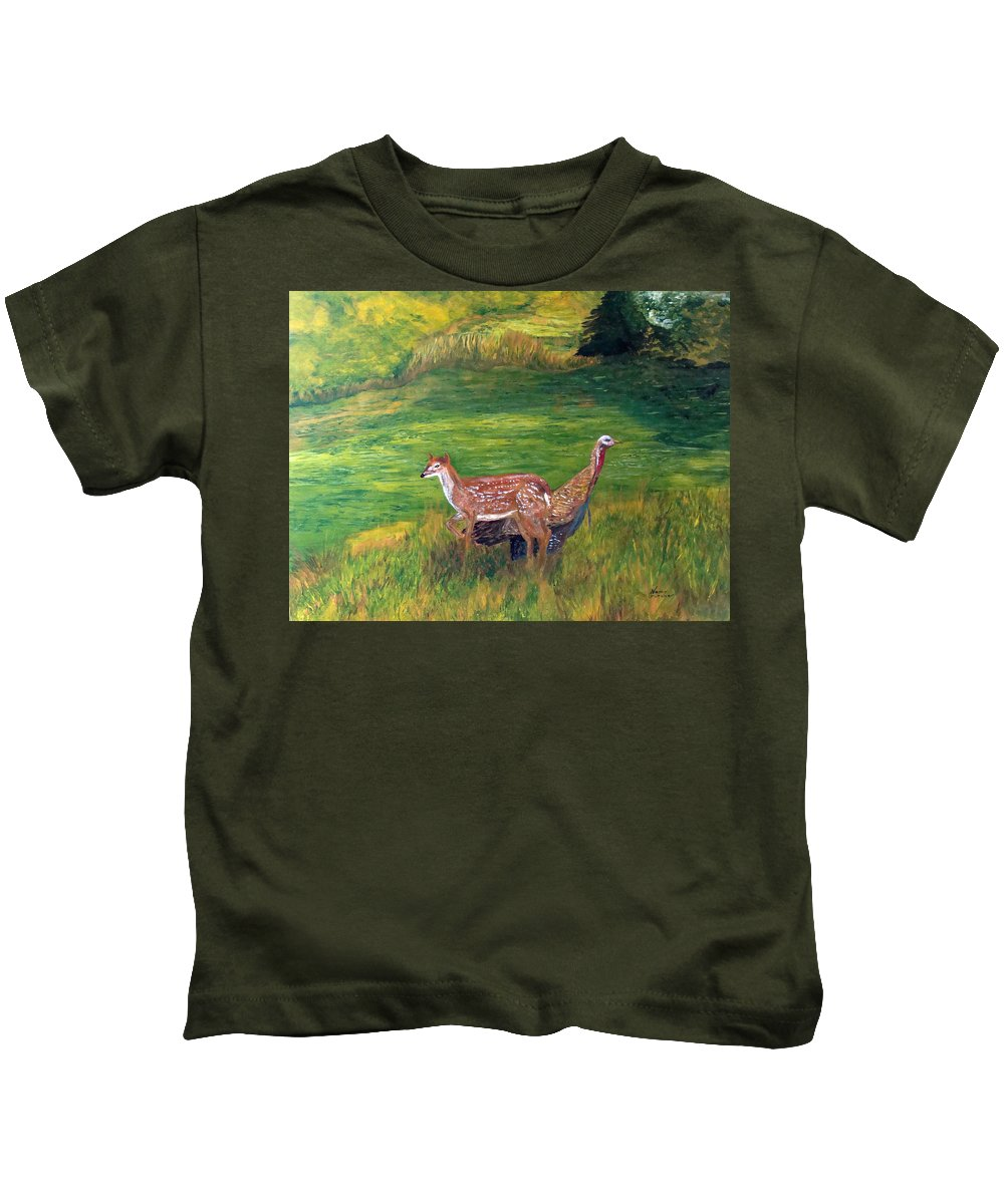 Animals Kids T-Shirt featuring the painting New Friends by Nancy Crutcher