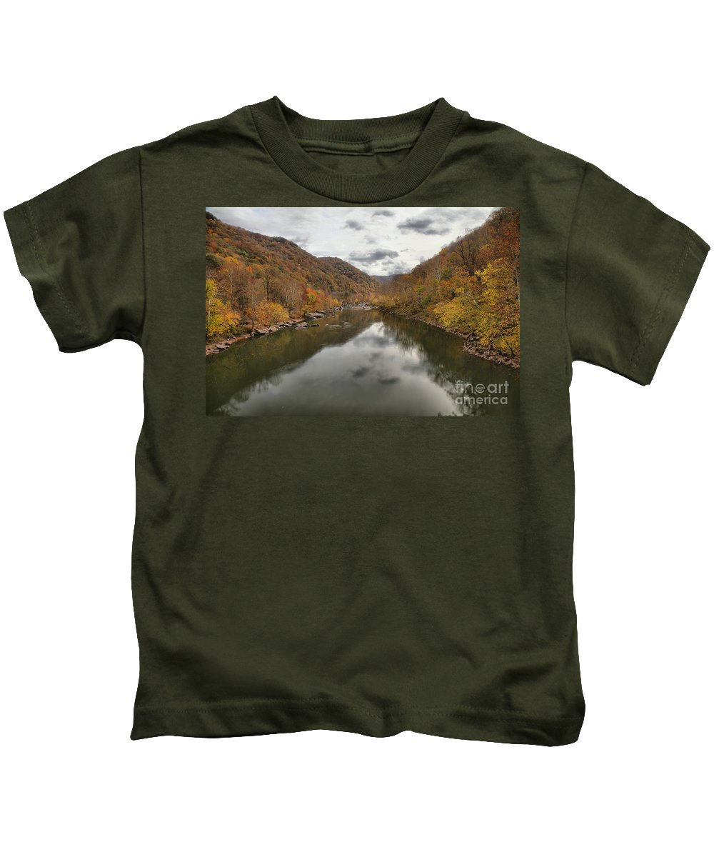 New River Gorge Kids T-Shirt featuring the photograph New River Fall Reflections by Adam Jewell