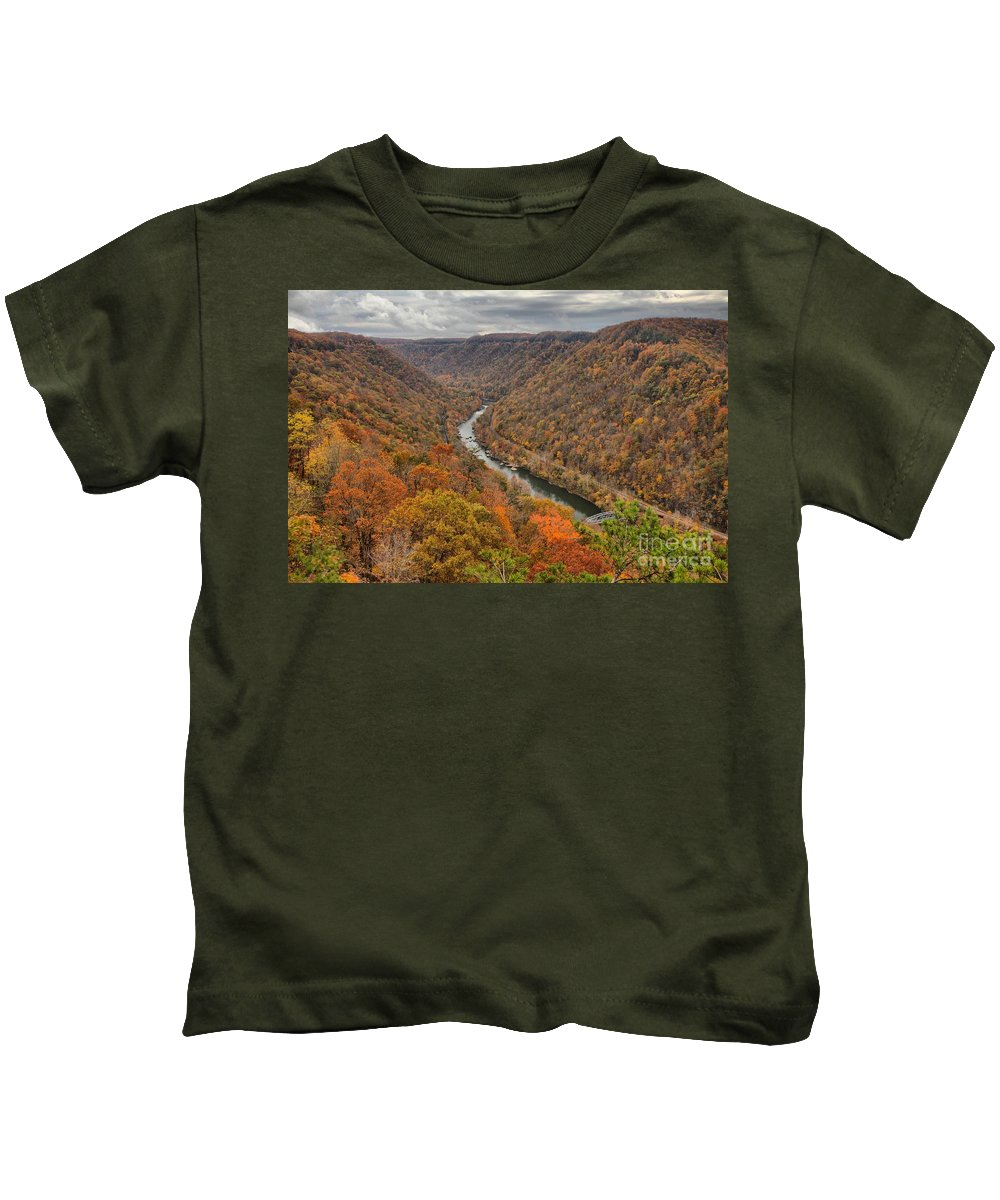 New River Gorge Kids T-Shirt featuring the photograph New River Gorge Overlook Fall Foliage by Adam Jewell