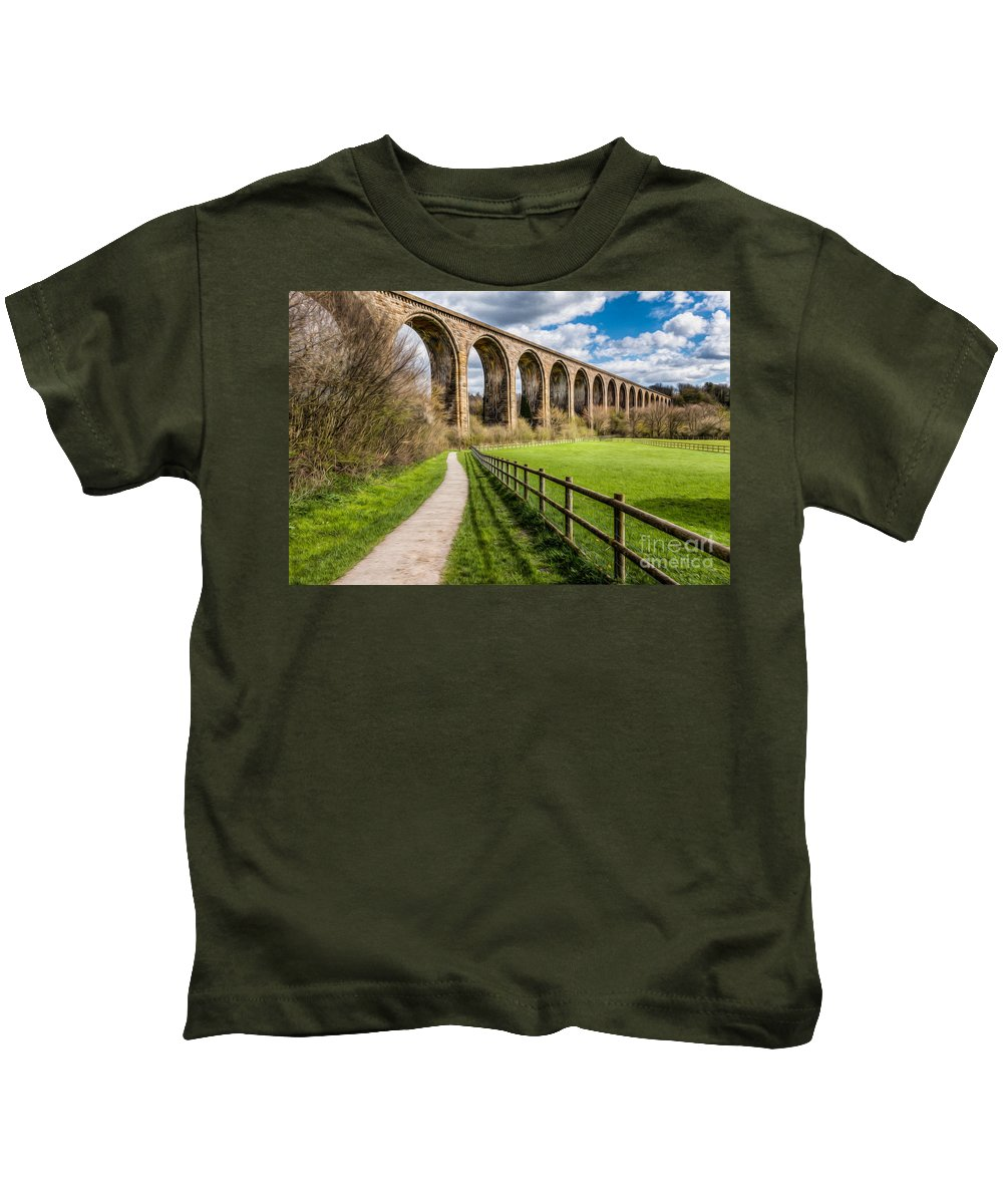 Arch Kids T-Shirt featuring the photograph Newbridge Rail Viaduct by Adrian Evans