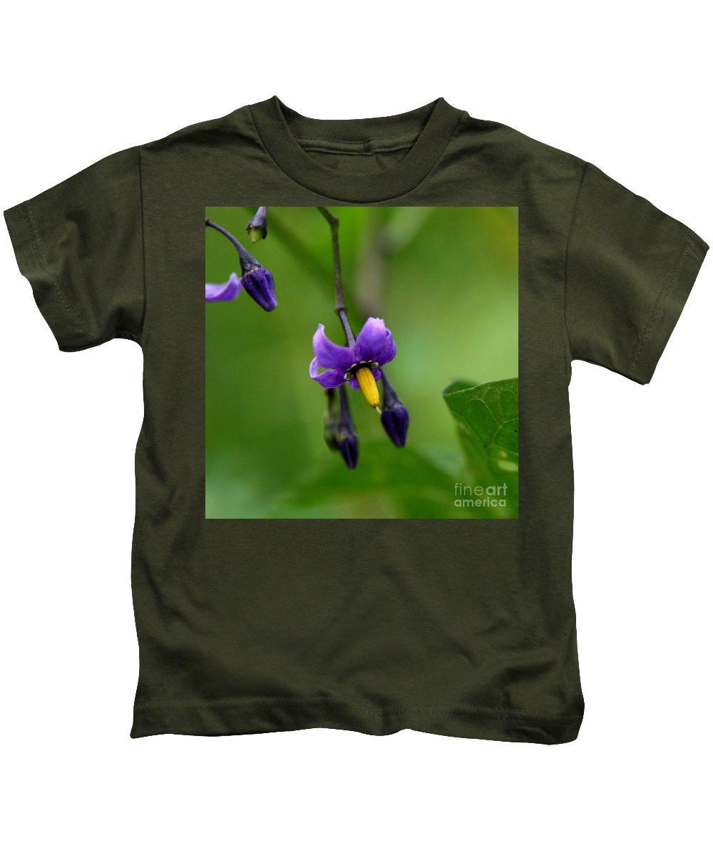 Floral Kids T-Shirt featuring the photograph Nightshade by Neal Eslinger