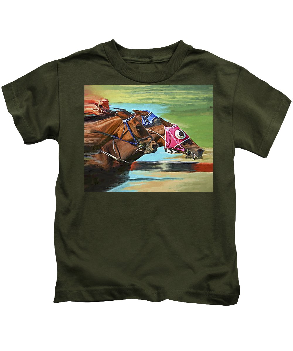 Horses Kids T-Shirt featuring the painting Nikita By A Head by David Wagner