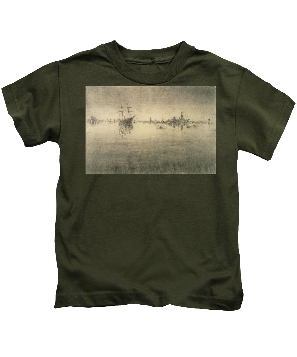Boat Silhouette Drawings Kids T-Shirts