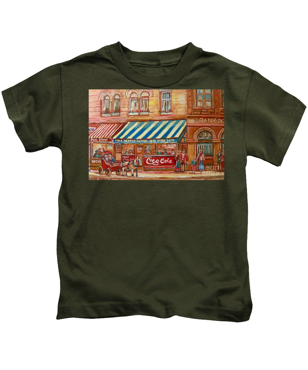 Notre Dame Street Kids T-Shirt featuring the painting Notredame Circa 1940 by Carole Spandau