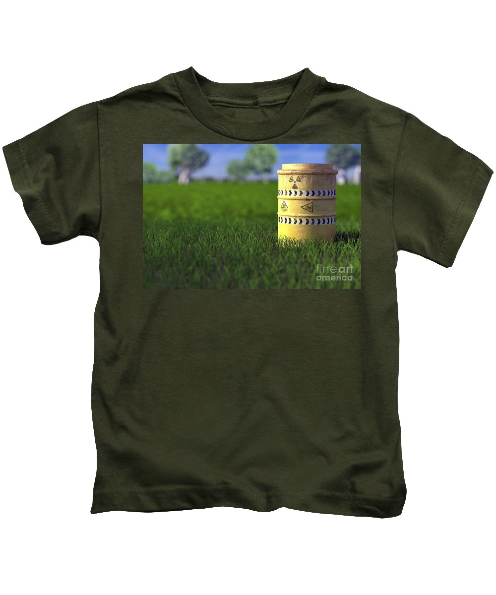 Barrel Kids T-Shirt featuring the photograph Nuclear Waste by Science Picture Co