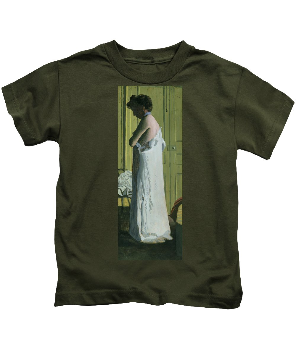Nude In An Interior Kids T-Shirt featuring the painting Nude In An Interior by Felix Edouard Vallotton