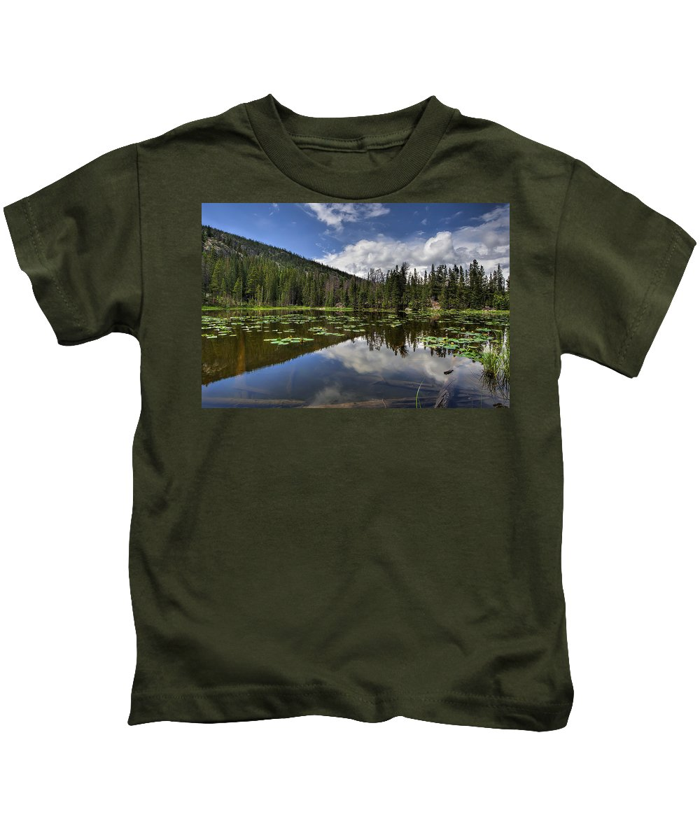 Rocky Mountain National Park Kids T-Shirt featuring the photograph Nymph Lake by Scott Wood