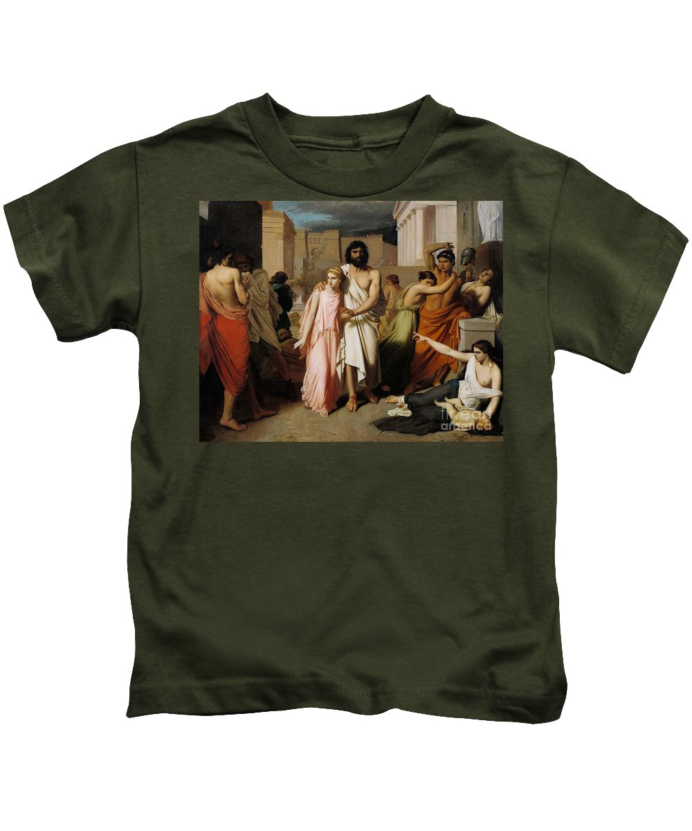 Disease Kids T-Shirt featuring the painting Oedipus And Antigone Or The Plague Of Thebes by Charles Francois Jalabert
