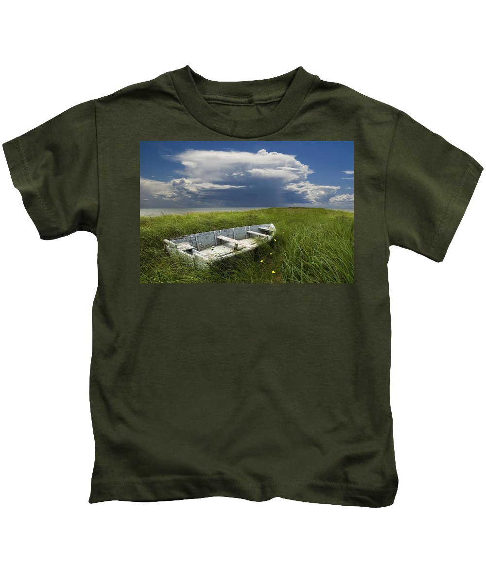 Shipwreck Kids T-Shirt featuring the photograph Of Land Sea And Sky by Randall Nyhof