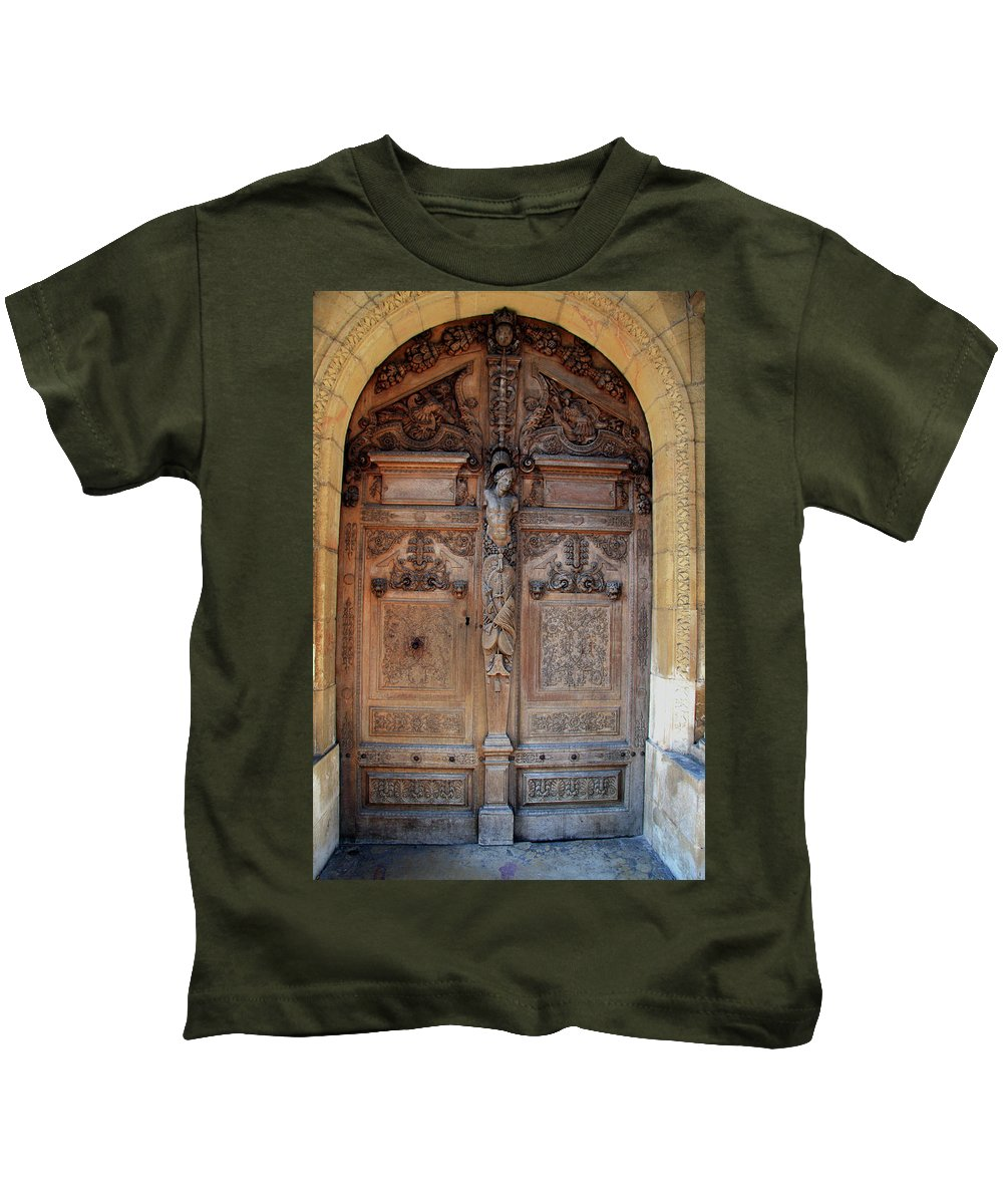 Door Kids T-Shirt featuring the photograph Old Carved Church Door by Christiane Schulze Art And Photography