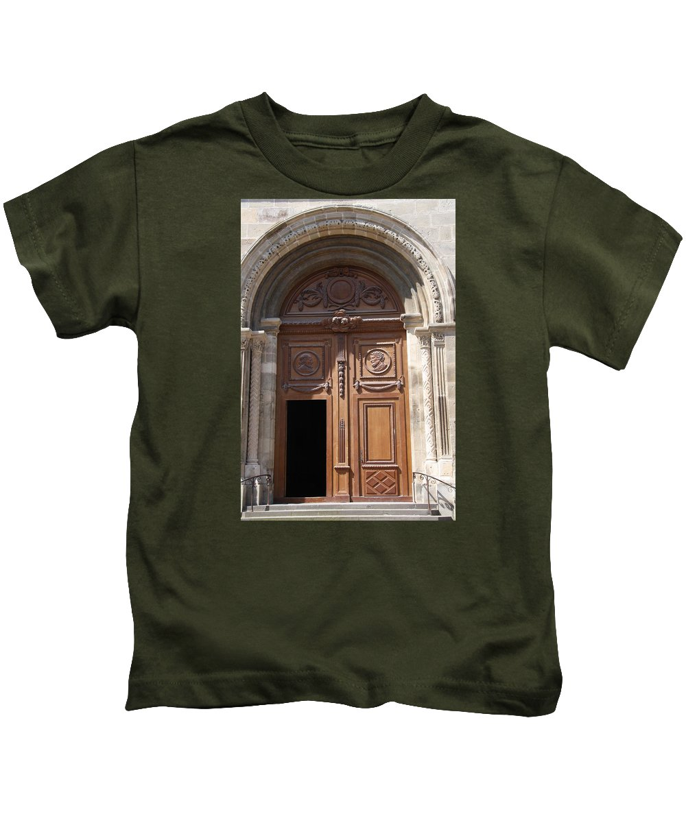 Door Kids T-Shirt featuring the photograph Old Church Door Cathedral Autun by Christiane Schulze Art And Photography