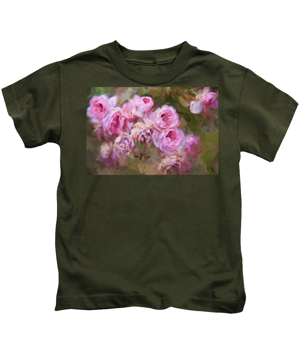 Pink Roses Kids T-Shirt featuring the photograph Old English Pink by Alice Gipson