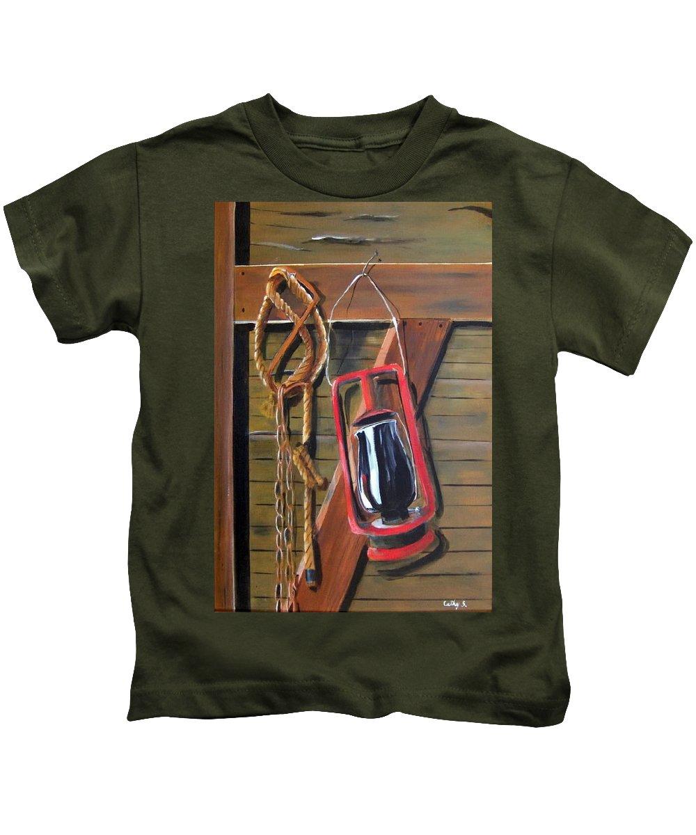 Lanterns Kids T-Shirt featuring the painting Old Lantern by Catherine Swerediuk