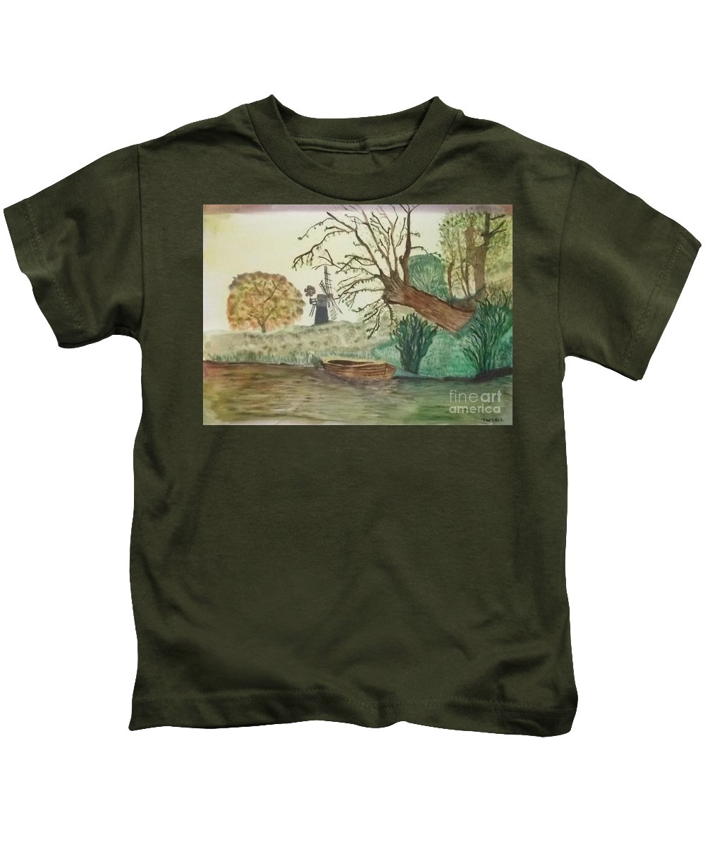 Old Willow Kids T-Shirt featuring the painting Old Willow And Boat by Tracey Williams