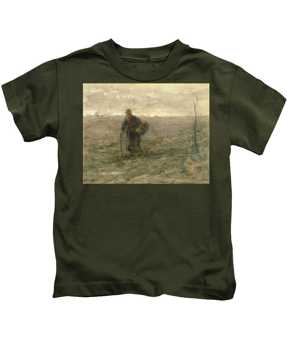 Basket Kids T-Shirt featuring the drawing Old Woman On The Heath by Jozef Israels