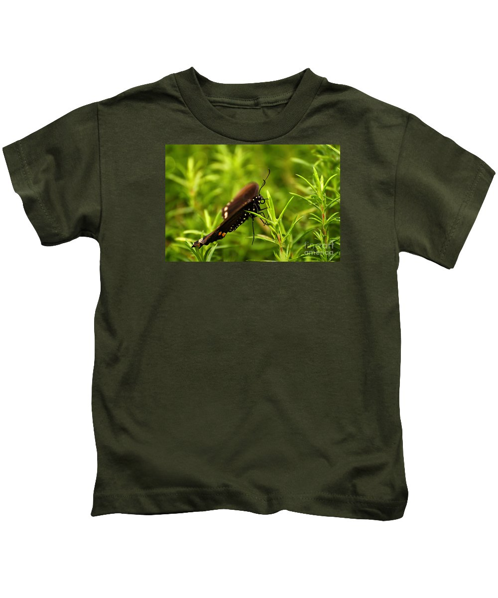 Butterfly Kids T-Shirt featuring the photograph On A Rainy Day by Lois Bryan