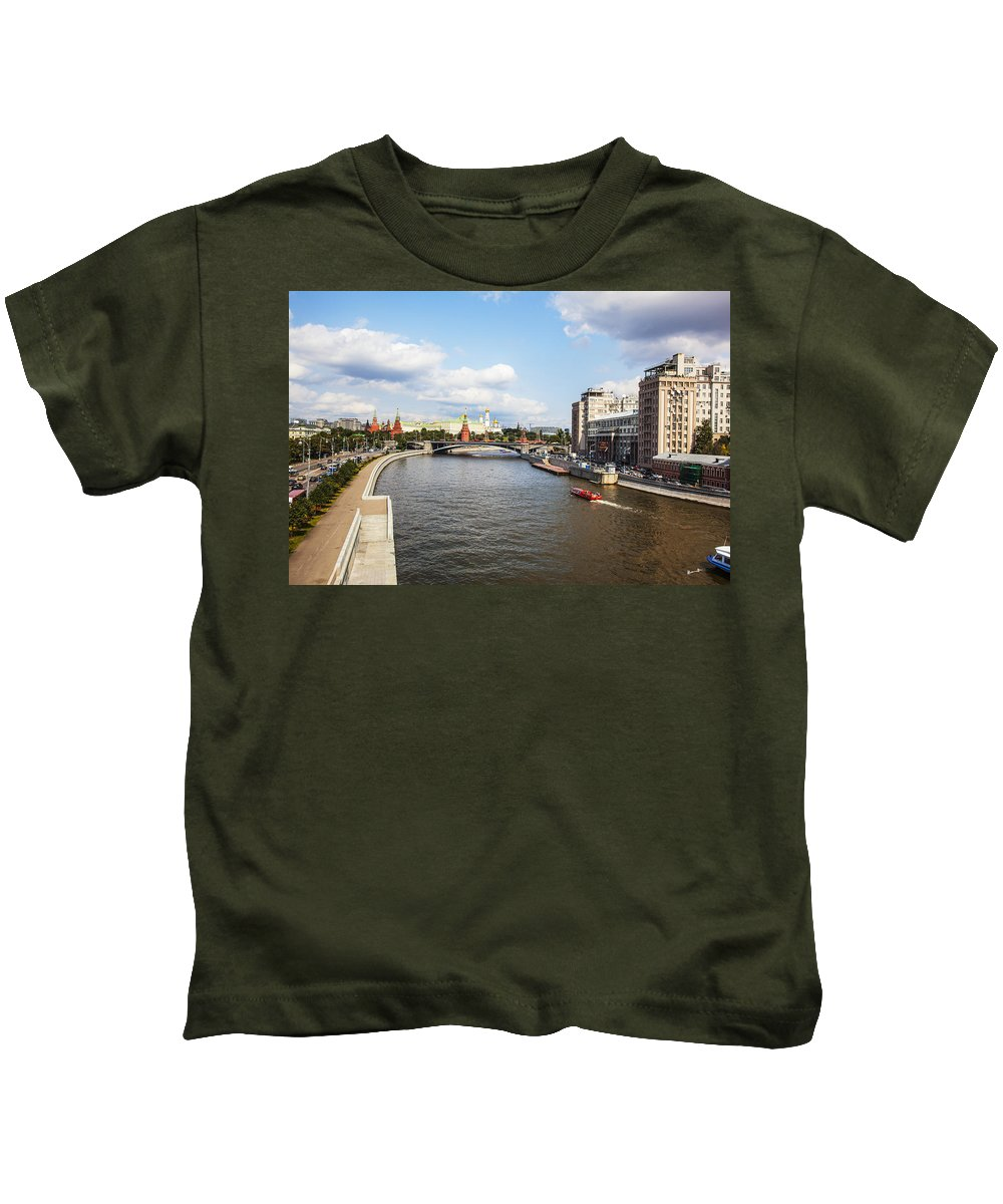 Moscow River Kids T-Shirt featuring the photograph On Moscow River - Russia by Madeline Ellis