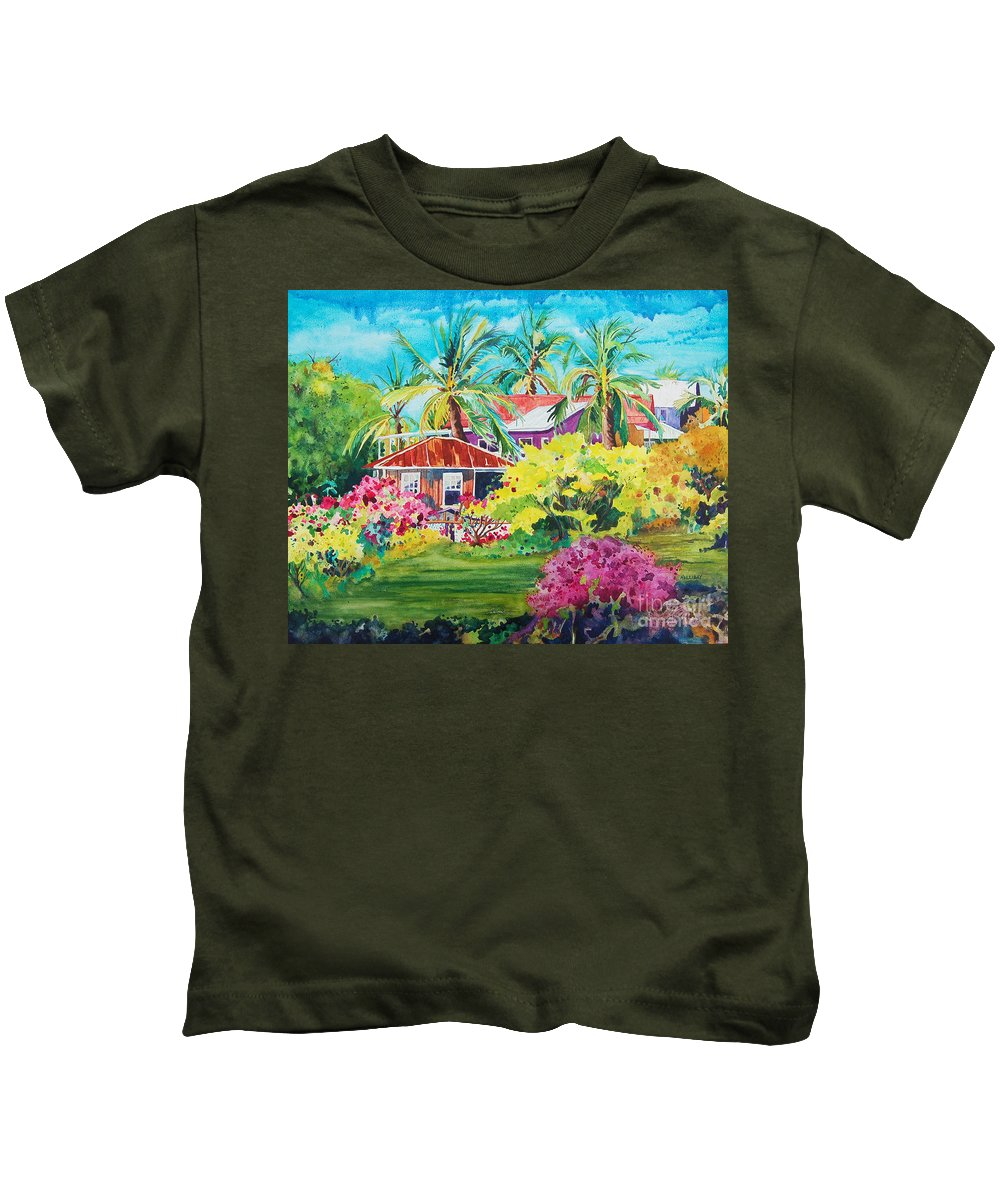 Miloli'i Kids T-Shirt featuring the painting On The Big Island by Terry Holliday