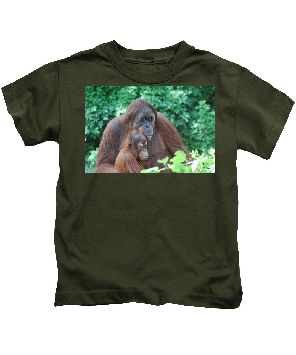 Orangutan Kids T-Shirt featuring the photograph Orangutan Family by DejaVu Designs