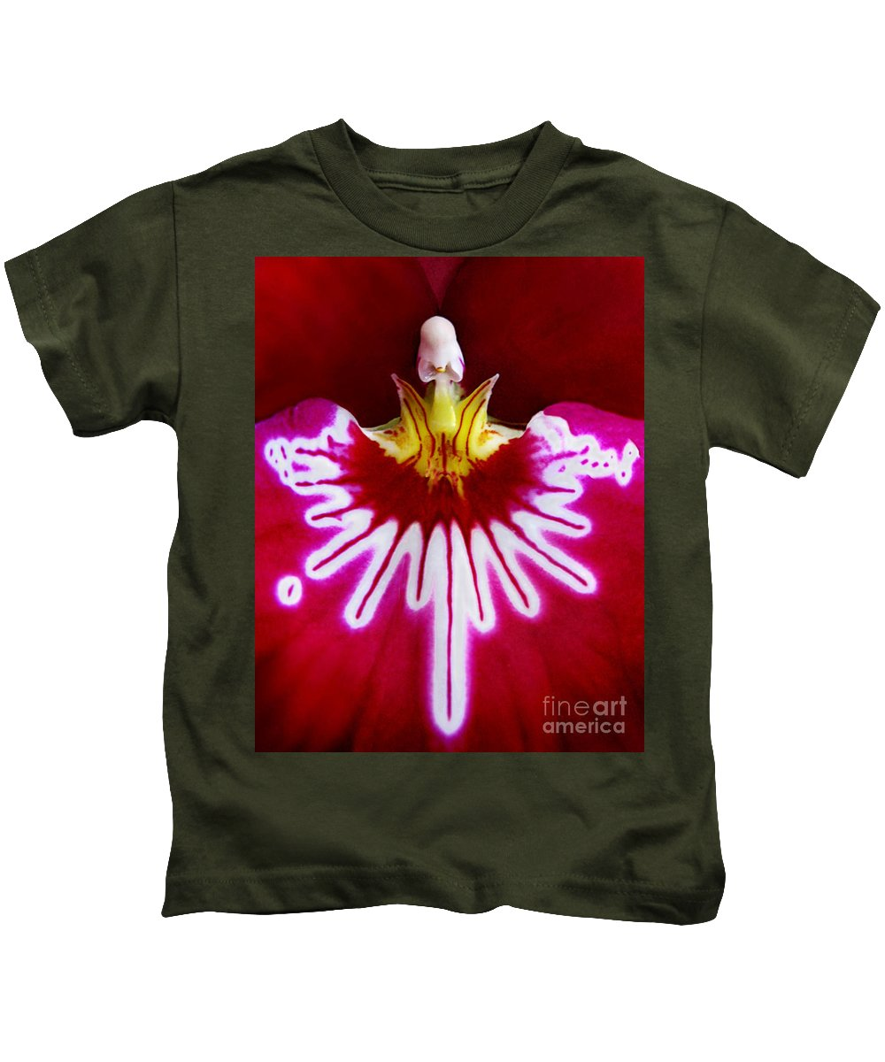 Macro Kids T-Shirt featuring the photograph Orchid Harlequinn-pansy Orchid by Jennie Breeze