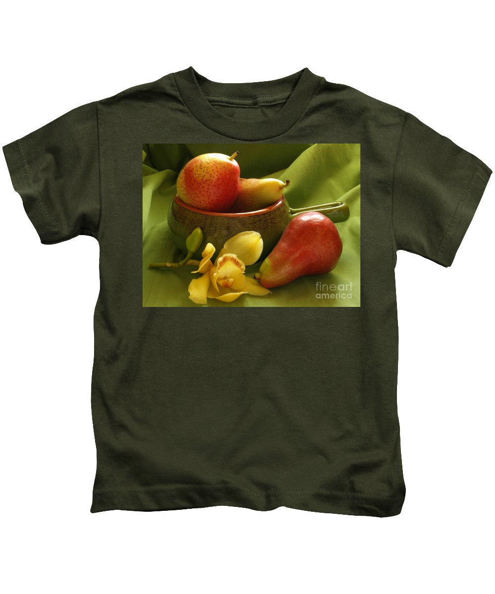 Still Life Kids T-Shirt featuring the photograph Orchid With Pears by Jacklyn Duryea Fraizer
