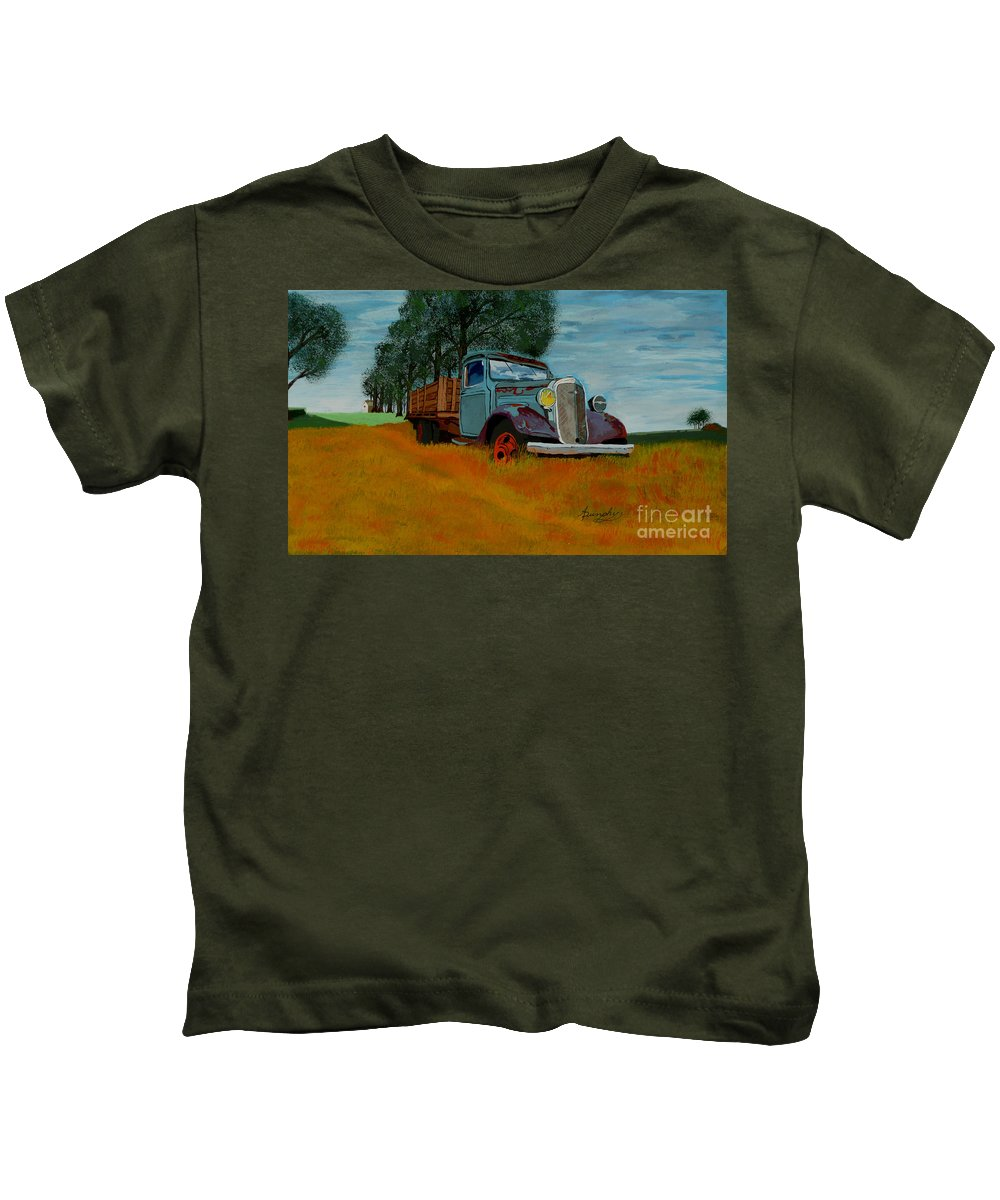 Truck Kids T-Shirt featuring the painting Out To Pasture by Anthony Dunphy
