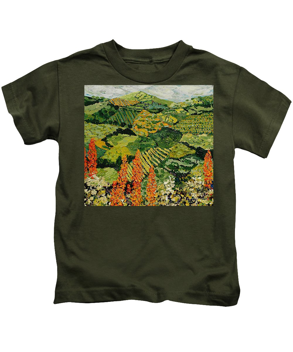 Landscape Kids T-Shirt featuring the painting Overgrown by Allan P Friedlander