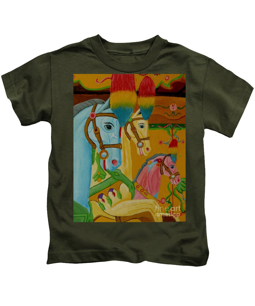 Carousel Kids T-Shirt featuring the painting Painted Ponies by Anthony Dunphy
