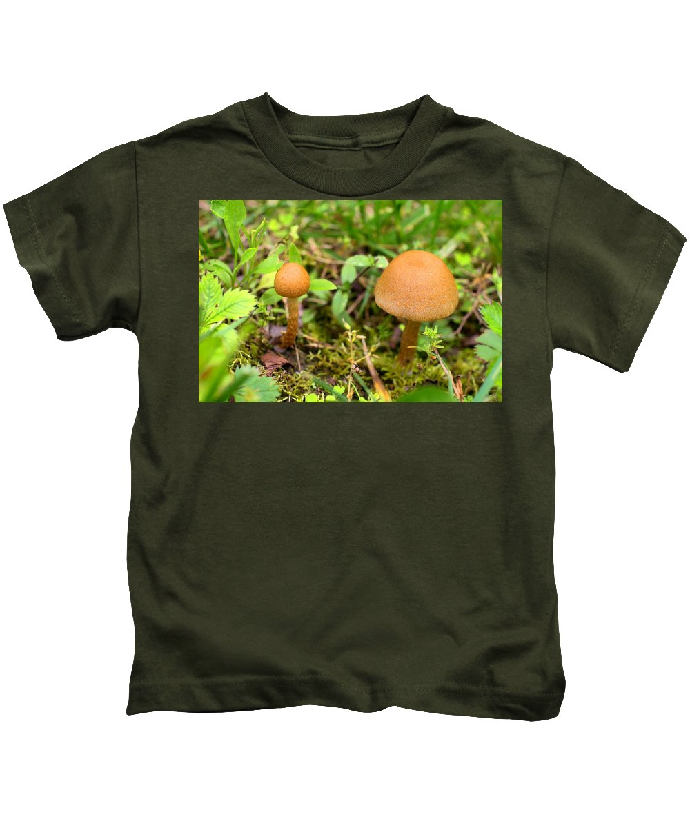 Mushroom Kids T-Shirt featuring the photograph Pair O Mushrooms by Kathryn Meyer