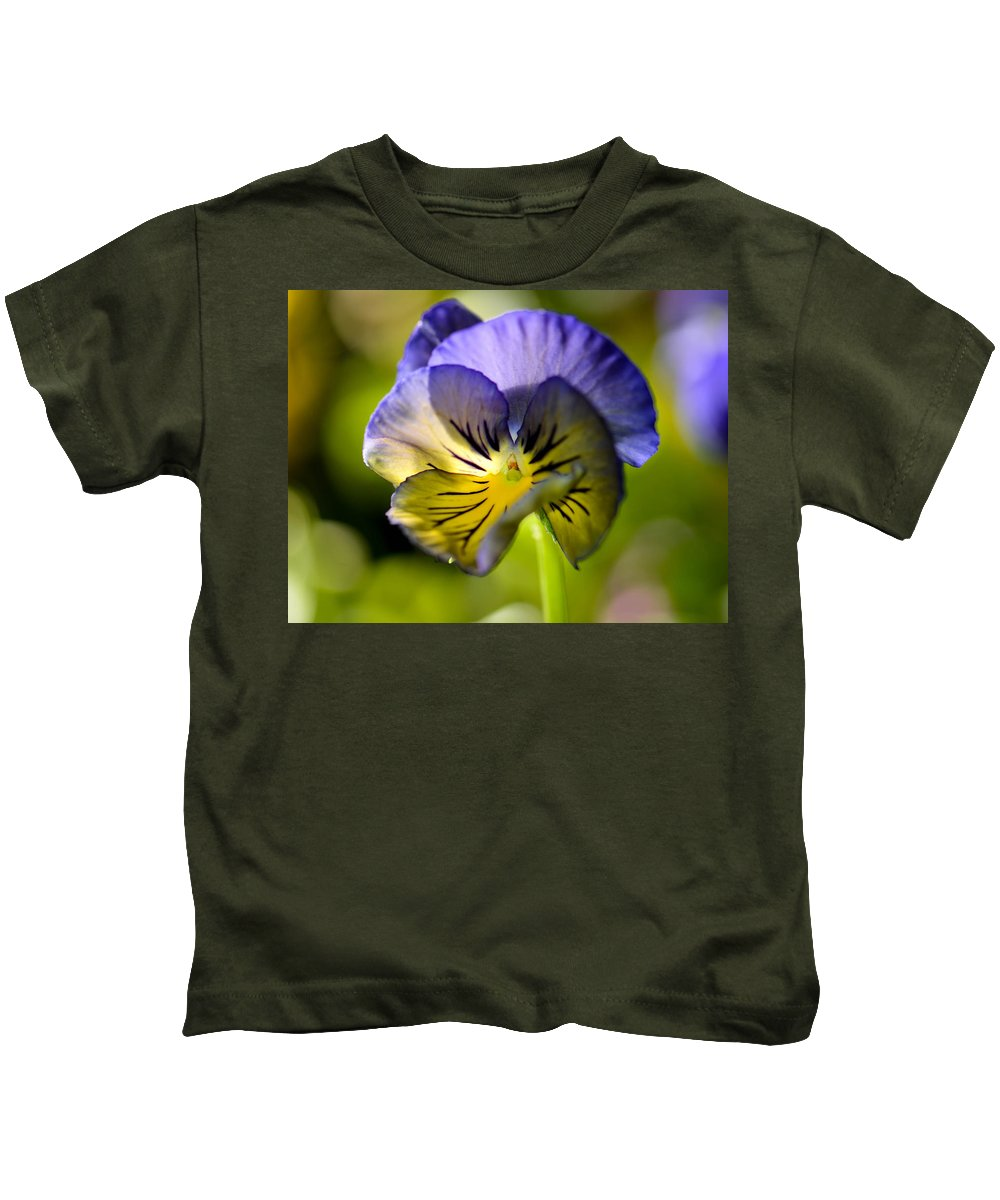 Pansy Kids T-Shirt featuring the photograph Pansy Portrait by Amy Porter