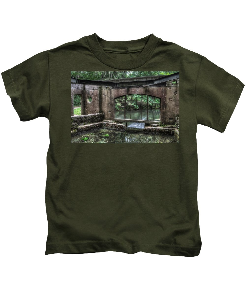 Kettle Moraine Kids T-Shirt featuring the photograph Paradise Springs Spring House Interior 5 by Jennifer Rondinelli Reilly - Fine Art Photography